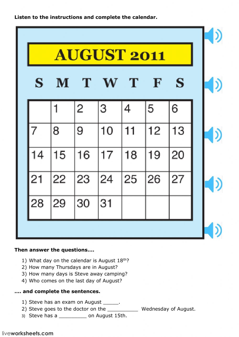 Calendar Activities Esl : Calendar skills interactive worksheet