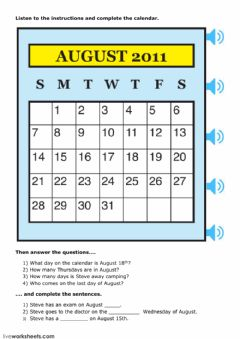 Interactive worksheet Calendar Skills