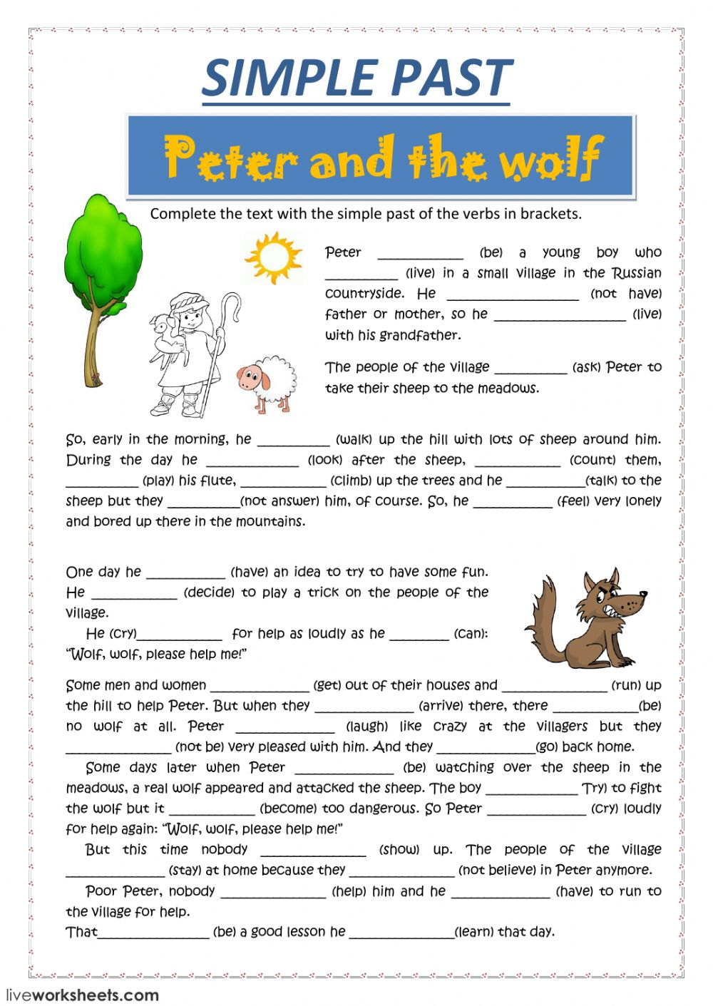 PETER and the wolf Interactive worksheet – Peter and the Wolf Worksheet