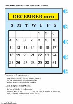 Interactive worksheet Calendar Skills 2