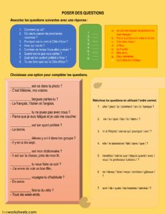 Interactive worksheet Poser des questions