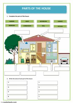 parts of the house worksheet preview