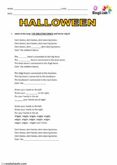 Interactive worksheet skeleton dance song1