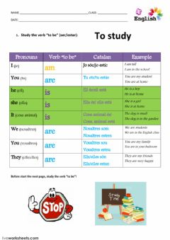 Interactive worksheet verb to be. study