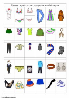 Interactive worksheet Vocabulário-05 A roupa
