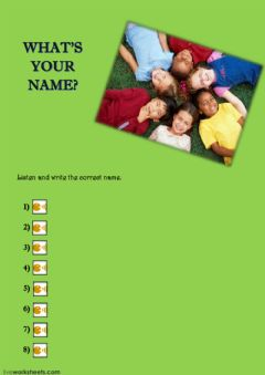 Interactive worksheet What's your name?