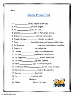 Interactive worksheet Simple present test