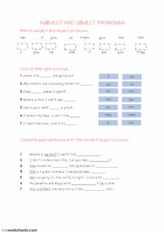 Subject and object pronouns worksheet preview