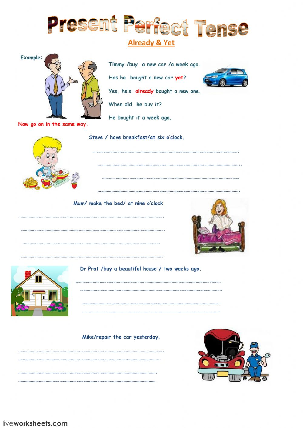 Present Perfect Tense Interactive Worksheet