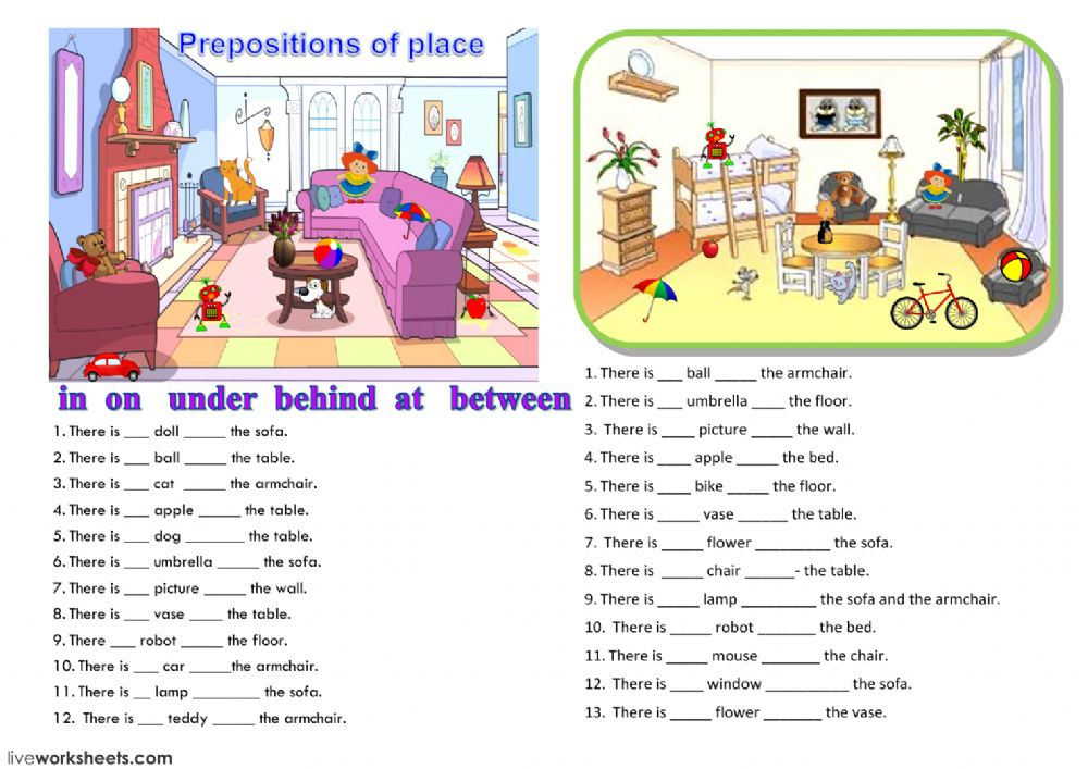 Printable Worksheets worksheets on prepositions for grade 1 : prepositions - Interactive worksheet
