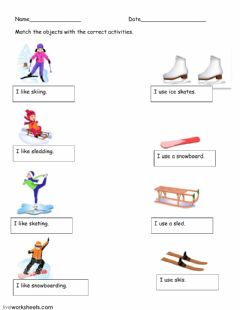 Interactive worksheet Winter activities match