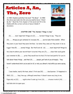 Interactive worksheet Articles -The Body- by Stephen King