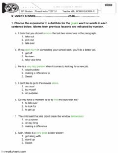 Interactive worksheet PHRASAL VERBS TEST 3.1 - 4.1