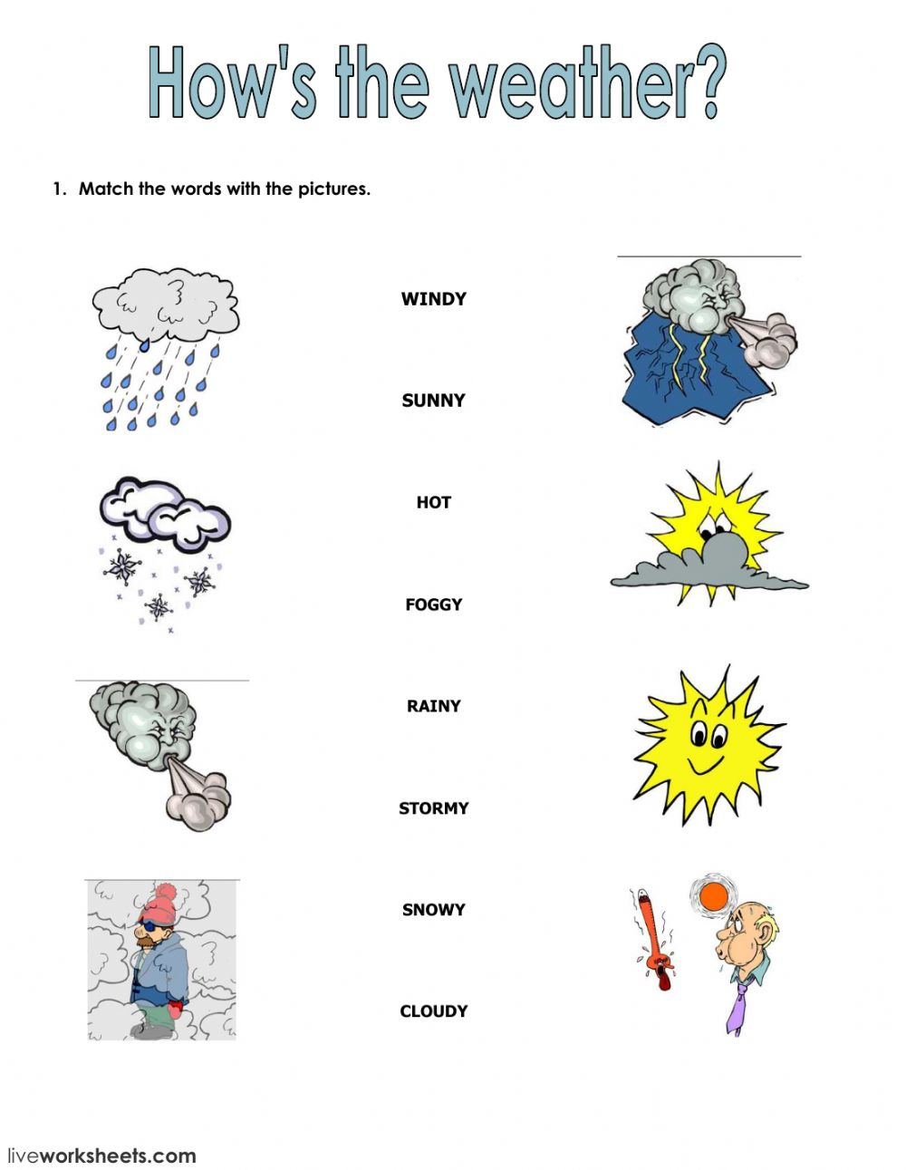 The weather Interactive worksheets