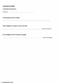Interactive worksheet make sb do sth (translate from French)