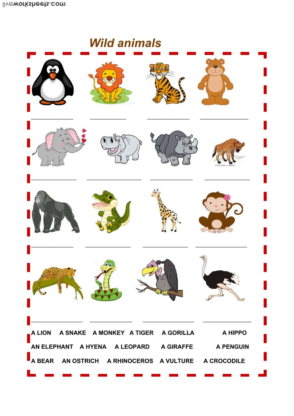 wild animals interactive worksheet. Black Bedroom Furniture Sets. Home Design Ideas