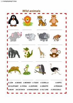 wild animals worksheet preview