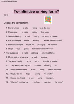 Verb Patterns: infinitives and gerunds worksheet preview