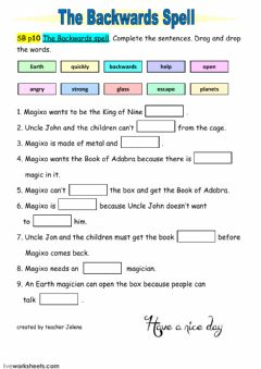 Interactive worksheet The Backwards Spell Chatterbox 4