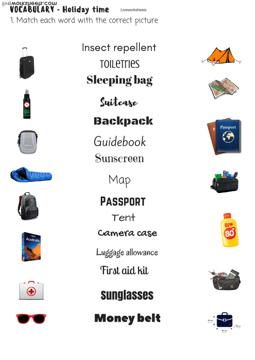 Vocabulary Travel items - Interactive worksheet