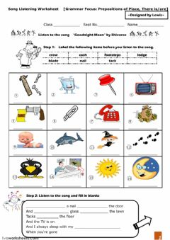 "Interactive worksheet  Song Listening  -  -Goodnight Moon"" by Shivaree"