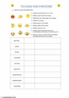 FEELINGS AND EMOTIONS worksheet preview