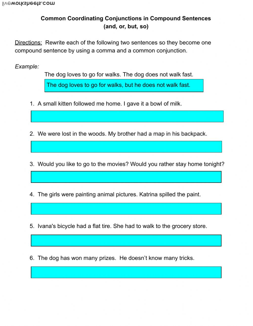 Fanboys grammar worksheet the best and most comprehensive worksheets combining sentences using conjunctions worksheet