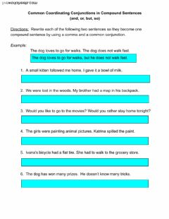 Interactive worksheet Using Coordinating Conjunctions in Compound Sentences