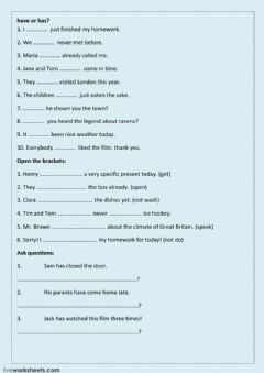 Interactive worksheet Present Perfect