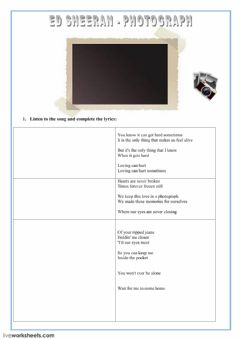 Interactive worksheet listening - song