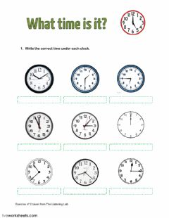 What time is it? worksheet preview