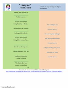 Imagine-by J. Lennon. Listening activity worksheet preview