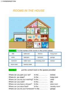 Rooms in the house worksheet preview