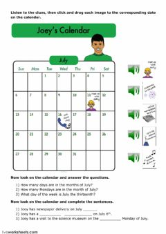 Interactive worksheet Joey's Calendar