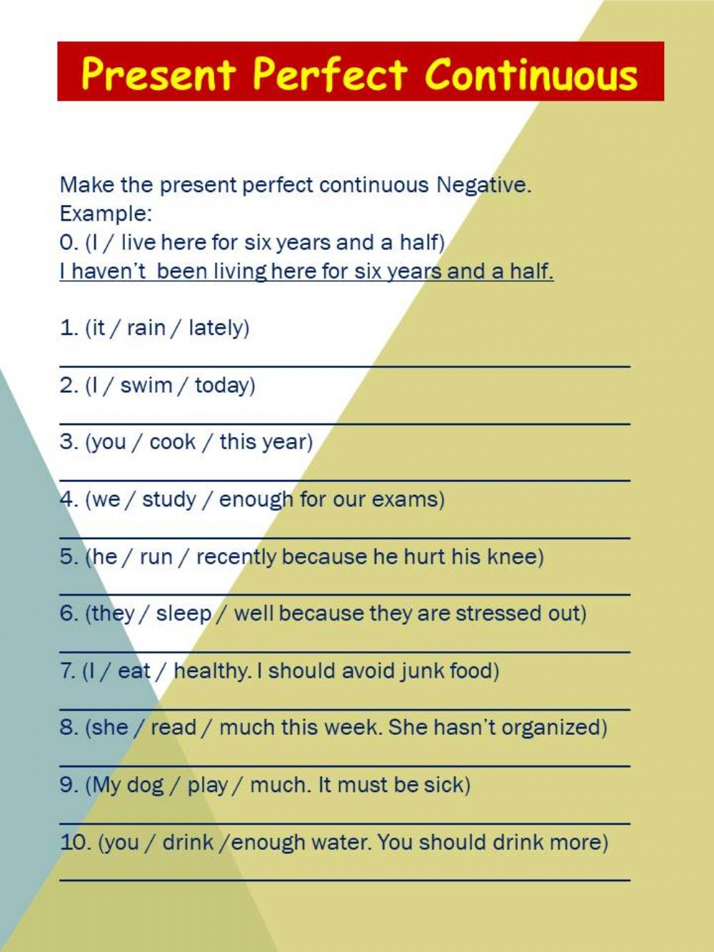 Present Perfect Continuous Interactive Worksheets