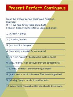 Present Perfect Continuous Negative worksheet preview