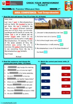 Interactive worksheet Comprehension Test