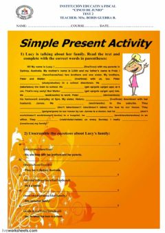 Interactive worksheet SIMPLE PRESENT TENSE 5 JUNE