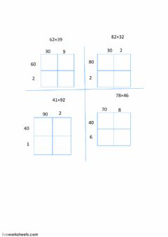 Interactive worksheet 2 digit multiplication with an area model