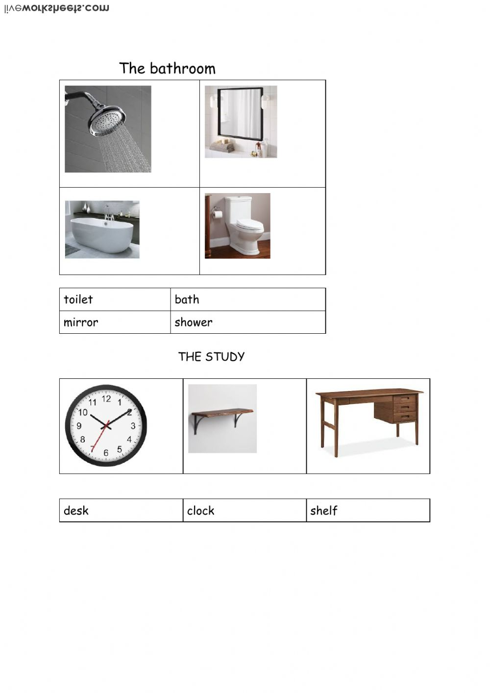 some objects in the bathroom and study - Interactive worksheet