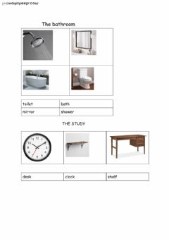 Interactive worksheet some objects in the bathroom and study