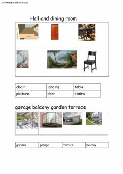 Interactive worksheet hall,dining room, stairs, terrace, balcony garden