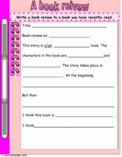 A Book Review worksheet preview
