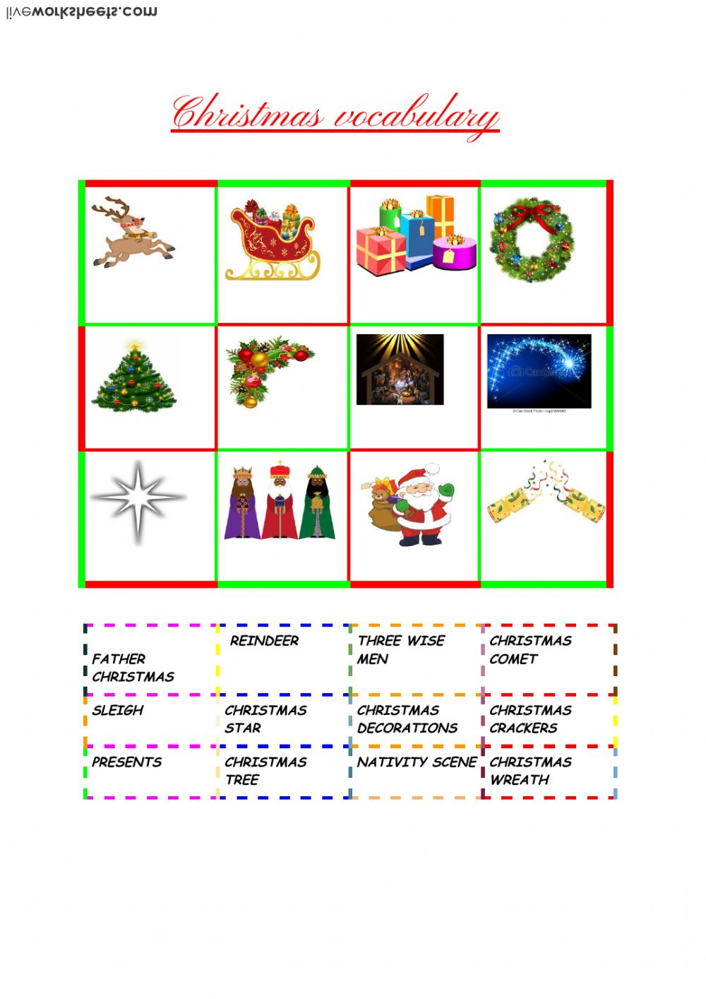 Christmas Vocabulary - Interactive worksheet