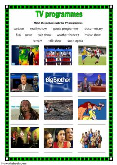 TV programmes worksheet preview
