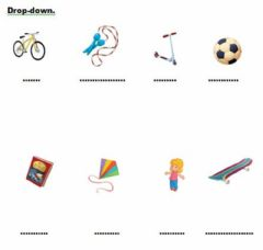 Interactive worksheet Toys. Drop-down