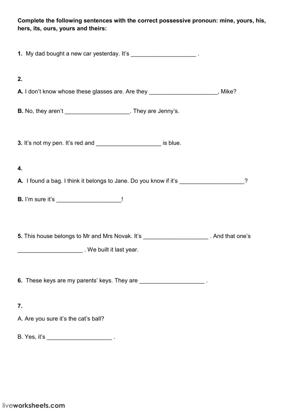 Free possessive pronouns worksheets for first grade