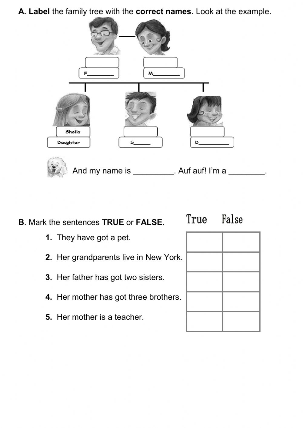 Family test - Interactive worksheet