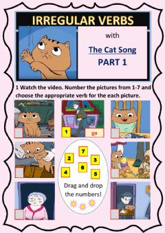 Interactive worksheet Irregular Verbs Cat Song Part 1 (out of 3)