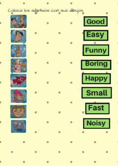 Adjectives and opposites worksheet preview
